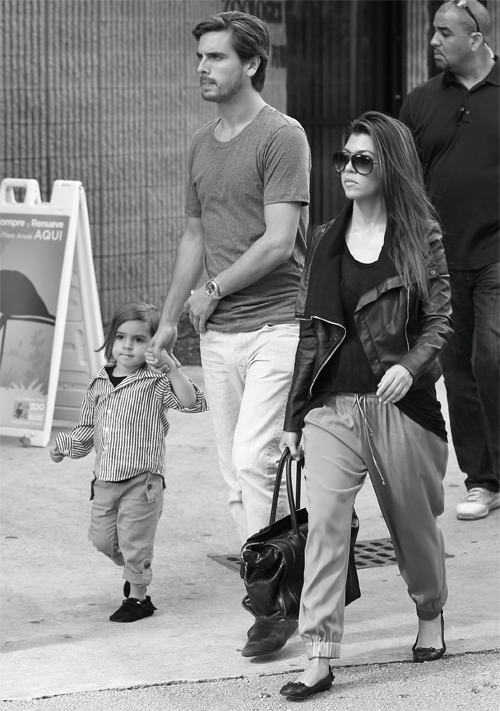 hauteinnocence:  Mason and Scott Disick with Kourtney Kardashian