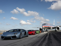 Aventador Roadsters Blast Down Miami Airport Runway