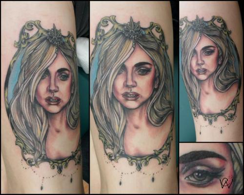 fuckyeahtattoos:  My very beautiful portrait of Lady Gaga as a princess on my thigh. Done by Cody Welch at Hollywood's Twisted Needles in Valdosta, Ga