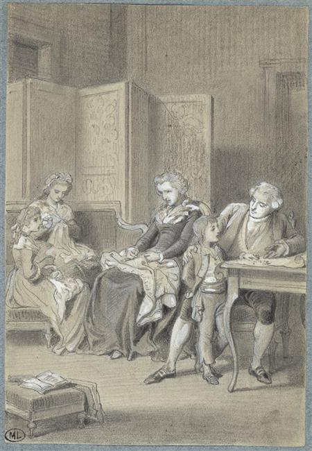 tiny-librarian:  The Royal Family in the Temple Prison. Louis XVI is teaching Louis Charles, while Marie Antoinette, Marie Therese Charlotte, and Madame Elisabeth work on some embroidery. Source