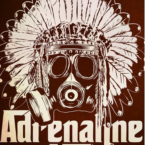 Close up of a new poster design for Adrenaline Mob.
