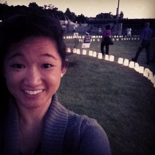 Memorial luminarias at ACS #RelayForLife  Cancer never sleeps!  (at Elk Grove High School)