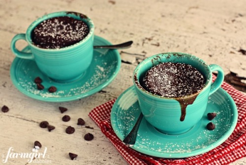 asexy-slice-of-cake:  loveee2smiles:  gooey chocolate cake cups for two {in 2 minutes!}  Ingredients 1/4 c. all-purpose flour 1/4 c. sugar 1/4 c. cocoa powder big pinch of salt 1/4 c. milk 1/4 c. butter, melted 2 large eggs, lightly beaten 1 tsp. vanilla extract heaping 1/4 c. semi-sweet chocolate chips, plus a few more for sprinkling on top Preparation In a small mixing bowl, stir together flour, sugar, cocoa powder, and salt. Add milk, butter, eggs, and vanilla. Stir well to incorporate. Fold in chocolate chips. Divide batter between 2 microwave-safe cups (my cup holds 6 fluid ounces) and then sprinkle the tops with a few more chocolate chips. Microwave both cups at the same time on high for 2 minutes. The cake will rise up above the cup rim, and then settle back down as it cools. Microwave strength varies, so adjust accordingly. The cakes should be cooked, but very moist, and a bit gooey in the middle. Allow cakes to cool for about 15 minutes prior to eating. Sprinkle with powdered sugar, if desired. These are best when eaten within a few hours of cooking them. As they cool, the chocolate chips will harden, so the cakes will be less gooey. But they're still very, very good. ;)  This is so what I'm doing after I get off work tonight.