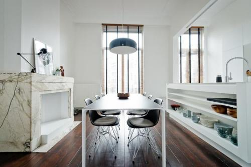 Source: My Scandinavian Home Super sleek kitchen/dining room. I love everything about this, especially that island and the fireplace. For me it's the perfect mix of contemporary style in what looks like a old period property.