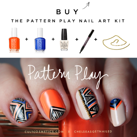 "New ""Pattern Play"" nail art kit with Cult Cosmetics available now! Includes everything you'll need to recreate this design for an awesome price. See it here: https://www.cultcosmetics.com/products/pattern-play"
