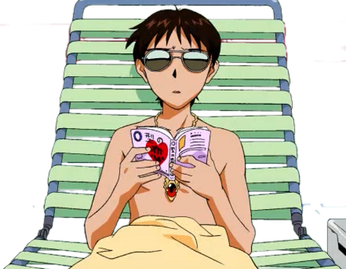 hardrives:  transparent shinji chillin on ur blog  even on the beach he looks troubled