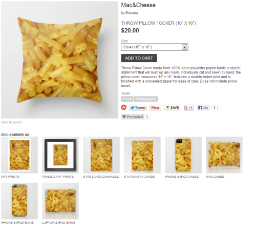 Someone just bought one of my mac&cheese pillows :) Get some