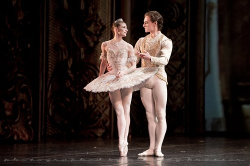 happyrefrain:   Alina Cojocaru and Sergei Polunin in Sleeping Beauty, photo by Nikolay Krusser. I love how she looks at him.    Especially since she was evidently the straw that broke the camel's back for Sergei pushing him to leave the Royal Ballet mid-rehearsal?? YOU WOULD NEVER KNOW, JUST LOOK AT THEM