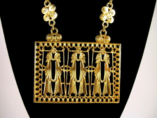 Vendome Assyrian Egyptian Revival Necklace (c. 1970)