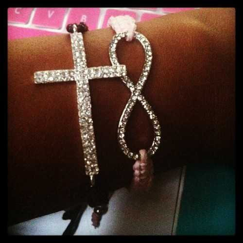 I couldn't resist buying these today. #Bracelets #Cross #Infinity #Braids #Pink #Black #Cute #Jewelry #Shopping