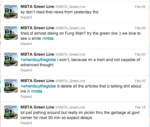 If you're not following the (fake) green line twitter, you are missing out. Shit's hilarious.