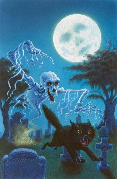 don ivan punchatz ghostly tales of terror cat black cat ghost monster horror graveyard 1993 1990s skeleton
