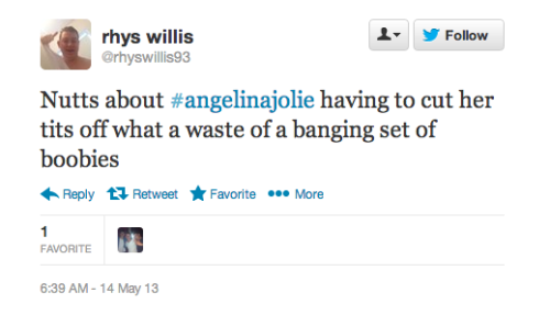 moirawak:  sad-teeth:   So today Angelina Jolie had double mastectomy, which is the removal of one's breasts, to prevent Breast cancer. So instead of praising Angelina on her bravery, men on Twitter decided to ridicule her, even calling her stupid for removing her breasts. For those of you on Tumblr that are attacking Feminists about being delusional about sexism against women and misogyny here's your fucking proof that sexism and misogyny exists.    There are like 3.5 billion other pairs of breasts in the world, I think you'll all be ok with one less
