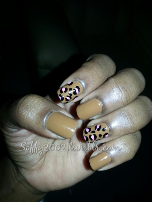 My nails for this week. My first time trying cheetah prints so it will get better with practice but it's good enough for now.