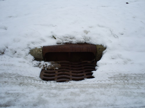 "Catch basin. Photo taken in Grandville, Michigan; January 3, 2013. Winter in West Michigan. Snow and rain have both produced ice in the cold weather this year. Runoff is always a concern with rain, but snow and ice contribute equally as much to the problem when they melt, if not more. The added concern for water quality in winter is the application of salt to our roads and sidewalks to melt ice and prevent dangerous buildup. A Slate article from 2010 points out that 13 times more salt is used on our roadways each year than by the food processing industry, and it comes with numerous problems for our water systems. It can make drinking wells salty tasting, disrupt aquatic species, and create dead zones in water bodies. In 2009, the Great Lakes Echo reported on a study saying these are problems for the Great Lakes. So, why do we keep using salt? The Slate article says:  Because it's cheap. Alternative chemicals can be much more expensive… and they often require municipalities to invest in new spreading equipment. Plus, replacements can come with their own environmental issues. … So far, no one's invented a completely benign way to get ice off the roads—except, perhaps, the shovel.  Road salt might not be going away soon, but it's something we should all be aware of, especially those of us who may use it ourselves. For more information, the Minnesota Pollution Control Agency has an informative page for road salt and water quality, and the Southeast Michigan Council of Governments has a fact sheet, ""Salt Storage and Application Techniques"" (PDF)."