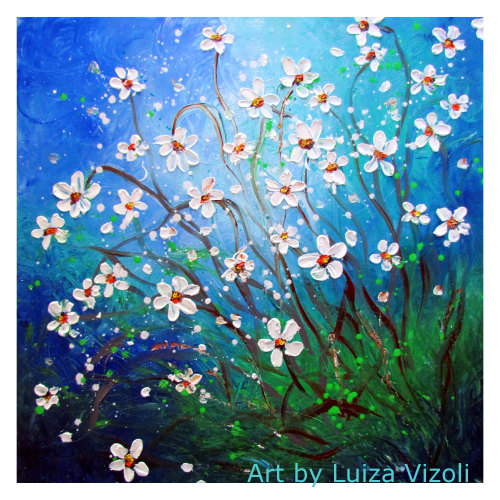 Daisy Meadow- Handmade Modern Floral Vibrant Impasto Wall decor Painting on Canvas by artist Luiza Vizoli-www.ARtbyLuizaVizoli.com