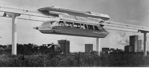 lacmtalibrary:  1961 Goodell monorail system proposal on Flickr. Artist's rendering of a monorail that accompanied the Preliminary Report on Financial Feasibility of a Goodell Monorail Passenger System between Los Angeles International Airport and the Wilshire-Downtown areas. The full report is available online:http://libraryarchives.metro.net/DPGTL/monorail/1961_goodell_monorail_lax_wilshire_downtown_financial_feasibility.pdf