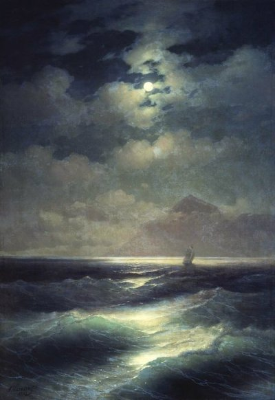 "dawnawakened:  Ivan Aivazovsky, View of the Sea by Moonlight (1878)  ""Ivan Aivazovsky was a famous Russian artist specializing in seascape and landscape portraits. He was born into the family of a destitute Armenian merchant in the Crimean city of Feodosia on 17 July 1817. At the time of Aivazovsky's birth the city was devastated after a recent war and was still suffering from the consequences of a plague epidemic that had affected the region in 1812."" - Russiapedia"