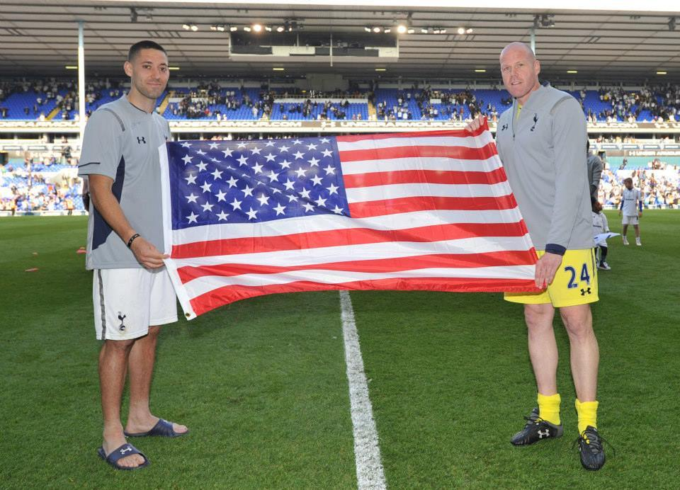 Clint Dempsey and Brad Friedel after Tottenham's final match of the season at White Hart Lane, May 19 2013