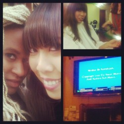 Wednesday with my Geli ;) #nyc #ladies #asianandebony #sex #illuminati #bangs #hair #karaoke #drinks