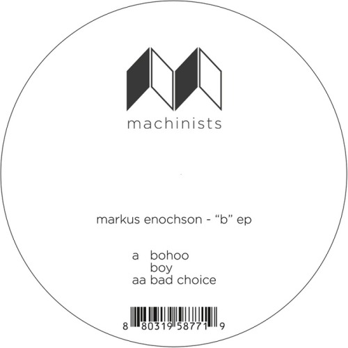 "Markus Enochson: ""B"" EP (Machinists) This is a rather unassuming but fantastic trio of tracks from techno producer Enochson. ""Bohoo"" kicks it off and is the best of the series, with a hypnotic, unchanging bassline and steady groove that keeps it moving while a mono-lead is free to roam. In its repetition, it gives the illusion of minimalism, but its less predictable synth lead takes it far. ""Boy"" is tracky as well, with its title repeated again and again over a nice chunky tech house groove, but it pales next to ""Bad Choice"" which is a lot punchier and more engaging. Its metallic arpeggios work well over a crisp, bright drum track, especially when a drumkit comes in on the offbeat, rising to the surface furiously before filtering and decaying into the background. This tide of rhythm continues throughout the track, lending an unexpected drama that must sound absolutely massive on a big system. All three cuts are solid, but the contrast between the first and third cuts is wonderfully sharp. Buy it: Boomkat 