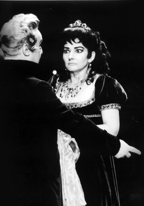 Maria Callas as Floria Tosca in Act II of Puccini's opera Tosca, Royal Opera House, London 1964