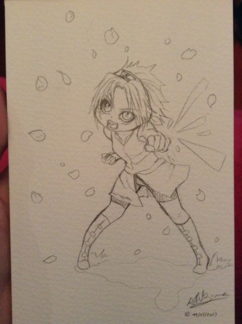 killer-neko:  Little Sakura fanart! It will  be a small watercolor (postcard size)