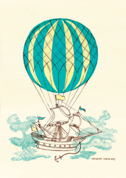 designersof:  Airship #1 by Catherine Askew Limited edition prints available from my Etsy shop. Or you can try your chances to win a GIVEAWAY of a (slight) misprint of it here. ————————get your work featured by submitting it to designersof.com