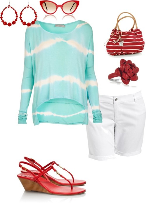 Red and aqua by janeamcdonald featuring a hobo shoulder bagTopshop long sleeve top, $43 / Old Navy cuffed denim shorts / Tory Burch leather wedge sandals / Hobo shoulder bag / Solange Azagury-Partridge ribbon jewelry / Tarina Tarantino rose jewelry / Cutler and Gross retro cat eye sunglasses, $560