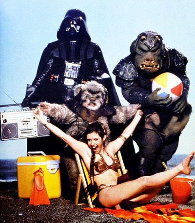 "vintagegal:   ""Star Wars Goes On Vacation"" photo shoot promoting ""Return Of The Jedi"" in 1983"