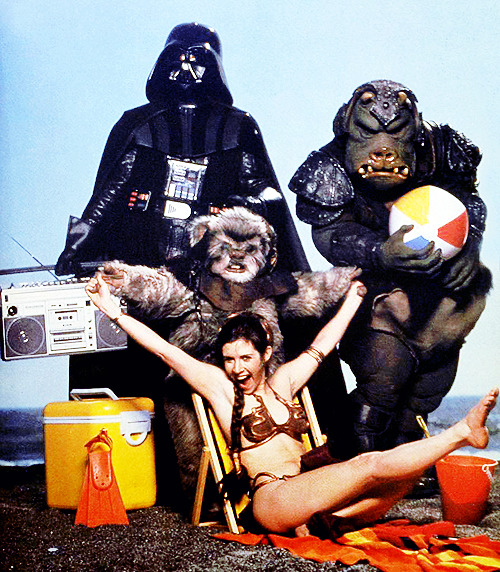 "undeadmachinery:  vintagegal:   ""Star Wars Goes On Vacation"" photo shoot promoting ""Return Of The Jedi"" in 1983  Too good for words."