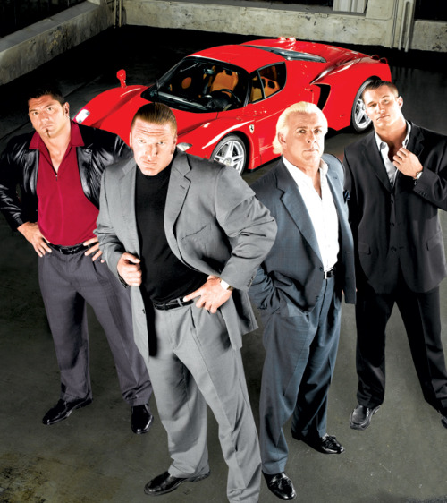 Evolution Promotional Shot [2003] I've always regret tuning out of wrestling altogether after the entire Invasion angle fizzled out. I missed the return of Flair. I missed the WWE debut of Goldberg. I missed the entire rise of the Evolution stable, a group that's seemingly well loved by everyone who was watching around this time.