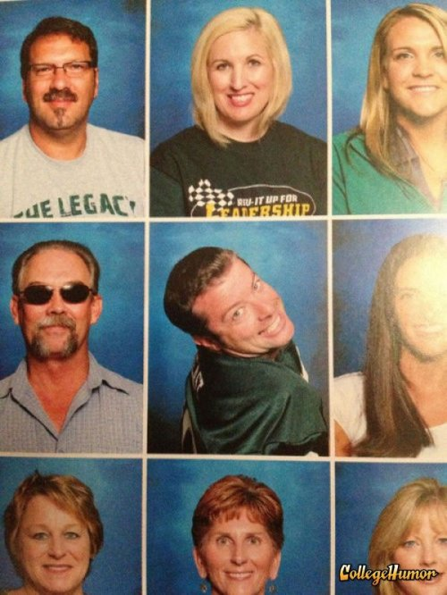 collegehumor:  Fabulous Teacher Yearbook Photo Yeah, get that tenure.  Show-off much???