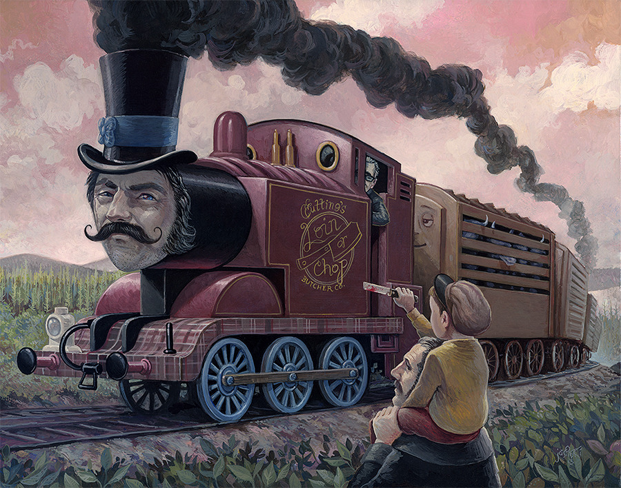 """Force of a Locomotive"" My piece for the Spoke Art ""Scorsese"" show that will premier in New York next week. Check it out. http://spoke-art.com/exhibitions/"
