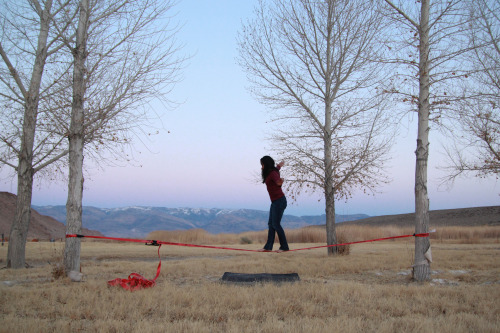 02.17.13 Slacklining. My new favorite thing. Bishop, CA