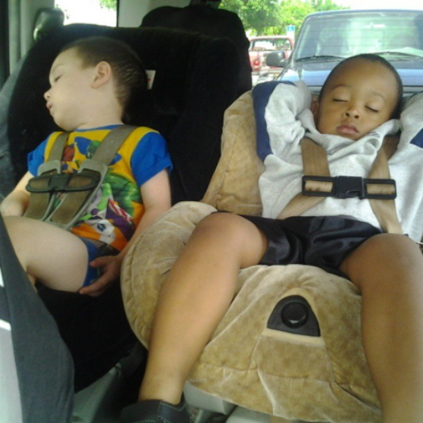 Christian and Davian. #passedout #carride #boys #ridinoutwith moms lol.