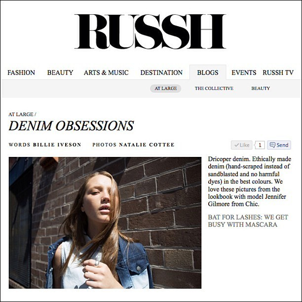 Check out the studioARTOHOLIC for Dricoper Denim feature on Russh Magazine online today with the incredible Jennifer Gilmore from Chic Management…