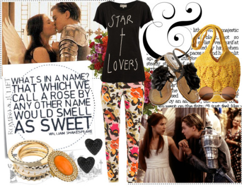 26. by charlotte-southeran featuring yellow gold jewelry ❤ liked on PolyvoreWildfox Couture cross t shirt, $91 / Adriana Voloshchuk printed pants, $205 / Fitness shoes / Mar y Sol raffia handbag / Yellow gold jewelry / Liz Palacios swarovski crystal jewelry / Betsey Johnson  jewelry / Hippie sunglasses / David Bushell Paris 2 / Teleflora's Fancy Free Bouquet Flowers