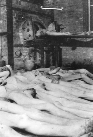 Corpses laid out for cremation in the Mauthausen concentration camp, May 1945.