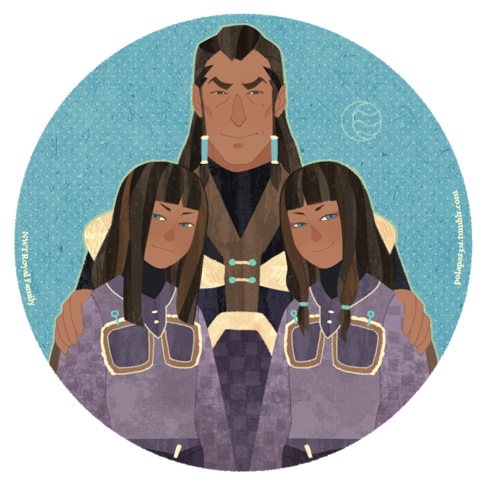 polapaz321:  NWT royal family.  I hadn't checked out IsisT's blog in a while. The stream of amazing (and bizarre) LOK fanart seems to still be flowing over there. It is always surreal to see fanart for things that aren't out yet, like this charming piece with Desna, Unalaq, and Eska from Book 2.