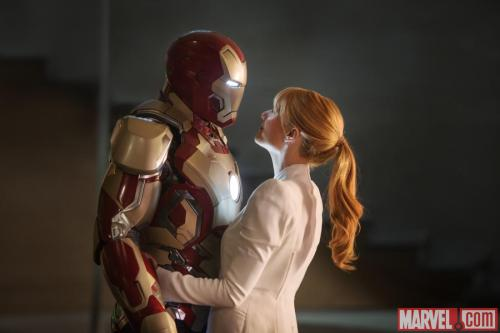 "The new Iron Man armor is the most huggable yet! via marvelentertainment:  Scope the latest image from Marvel's ""Iron Man 3"" as Iron Man (Robert Downey, Jr.) and Pepper Potts (Gwyneth Paltrow) share a quiet moment, and they better enjoy it while it lasts as they prepare to set out on their most dangerous adventure yet! Get the latest news now right here and don't forget, Marvel's ""Iron Man 3"" comes out in theaters May 3!"