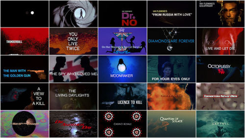 James Bond: 50 Years of Main Title Design   After 50 years and 23 films, the James Bond franchise is inarguably the most successful and steadfast in film history. Based on a canon of novels by journalist and WWII intelligence officer Ian Fleming, Bond was already a household name in the United Kingdom a decade before reaching the silver screen. But it was Sean Connery's performance as a souped-up version of Fleming's iconic superspy that turned 007 into one of the UK's largest cultural exports, on par with Doctor Who and The Beatles.  read more: Art of the Title: 50 Years of Main Title Design