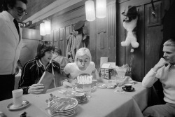 shopmidnightrider:  Happy Birthday Iggy Popp ( April 21th 1947 ) [ Photographed here blowing out candles on his birthday cake as David Bowie and tour manager Pat Gibbons look on at a restaurant in Basel, Switzerland ]