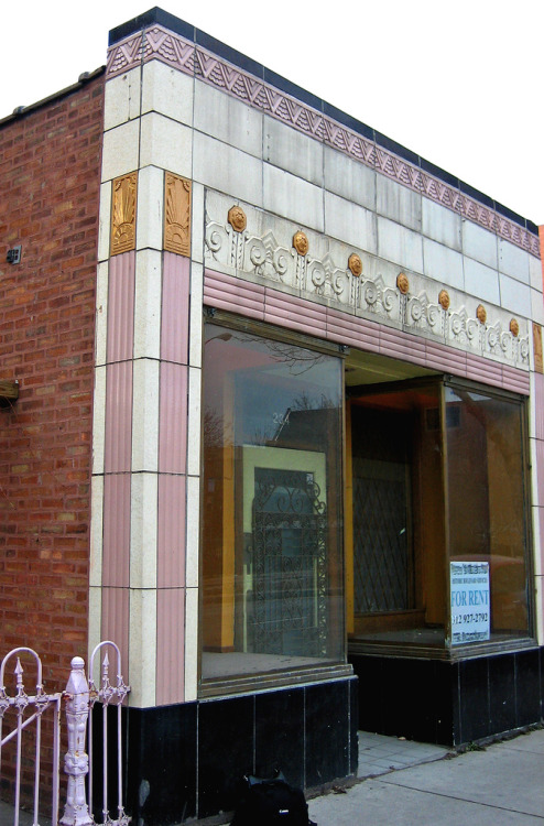Storefront, Chicago, Illinoisby Terence Faircloth Terra cotta facade. From Flickr:  Art deco terra cotta storefront on Ashland Avenue on the edge of the Jackson Boulevard Historical District in Chicago, Illinois.