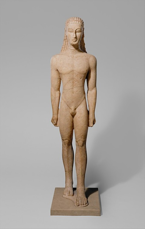 Marble statue of kouros (a youth)  Greek, Attic  Archaic, 590 - 580 BC  Source: The Metropolitan Museum