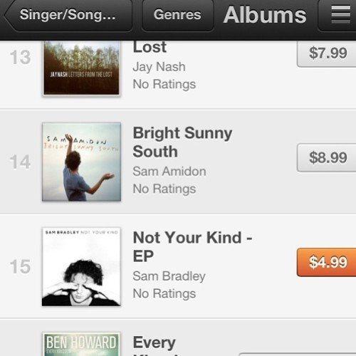 Preorder #notyourkind right now!  #15 on #singer #songwriter charts and counting.  Keep it climbing! #support #sambradley #music #musician #newmusic #itunes
