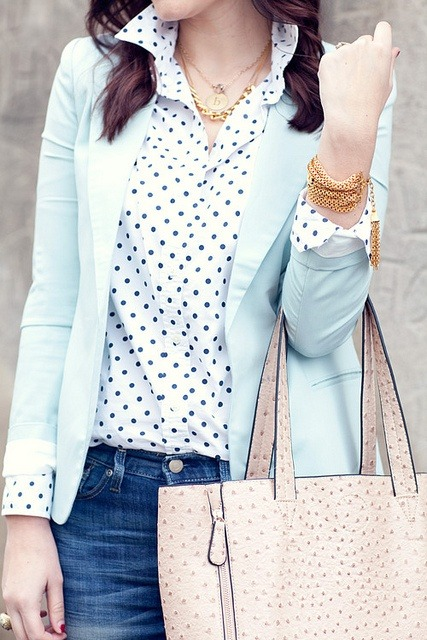 polka dots & mint blazer. Love.
