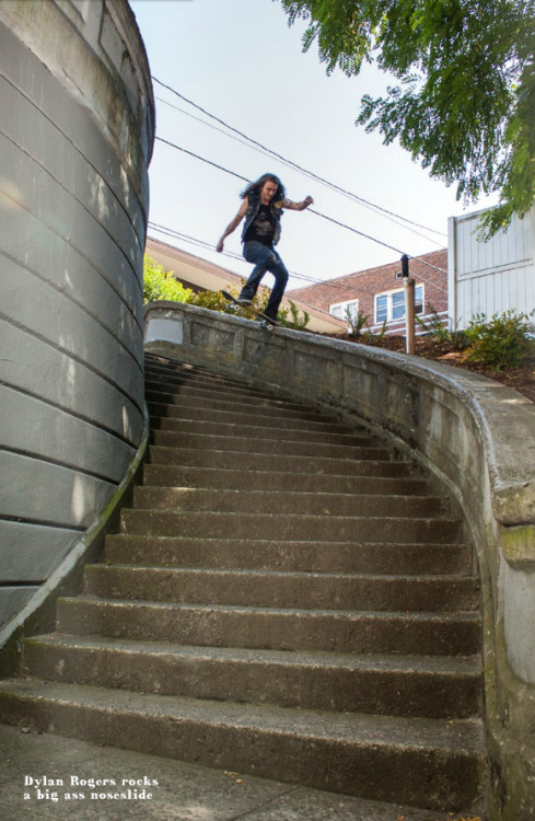 Dylan Rogers nosesliding one of the gnarliest spots in Seattle  Check the photo in Wicked World, a new Seattle skate zine