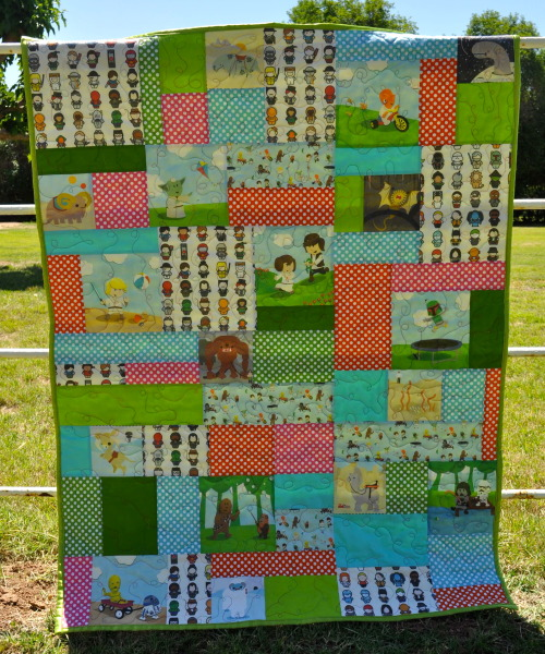 "absquatulate:  styro:  katedanley:  outofcharactersuburb:  Another quilt for Comicon. Fabrics are ""Icons of the Silver Screen"", ""Petting Zoo Baby Book"", and ""Star Wars Kids"". This one is roughly 48"" x 54"", quilted in matching variegated thread, and backed and bound in lime green satin. I'm having such a great time making these. Again, these quilts will have a higher price point because of the cost of the custom fabrics, but hey man, a handmade quilt costs what it costs. Plus this is adorable and it doesn't exist anywhere… you're not going to pick one of these up at Urban Outfitters for $59.   HOLY SHIT!!!!  Did you guys see this???  DID YOU SEE THIS?!?!  It is a STAR WARS QUILT WITH LITTLE STAR WARS DUDES!!!  Why does this not have a million notes???  I need a little Skywalker to swaddle up in this!  Calling all Gravyholocausts.  OMGGGGGGG If I were rich. I'd go to Comicon and buy this for my nephew.  Erin is crushing it with these quilts!!"