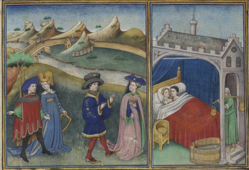15th century, illuminated by Flemish masters Bibliothèque de l'Arsenal Ms-5070 réserve: Decameron by Giovanni Boccaccio (French translation by Laurent de Premierfait) fol. 116r http://gallica.bnf.fr/ark:/12148/btv1b7100018t.r=.langEN Seeing the humongous black hat of the gentleman in blue gown, I instantly thought of Mr Arnolfini. Also, the pattens here are of the same design as in the Eyck double portrait. The women wear houppelandes with overturned collars and horned headdresses, supported by padded rolls. The gentleman accompanying the blue lady also wears a padded headdress, and a red scalloped tabards over, presumably, short gown with bag sleeves. Two interesting points here: Firstly, note the looseness of the blue sleeves of the pink lady's underdress, and the size of her houppelande's sleeves (the dress looks almost a cloak, really). Secondly, the houppelandes have a gold line under the overturned collars, reminiscent of the fur edging of the Margherita's version of the houppelande (which lacks the collar). I think these are some kind of either necklaces or - what I find more likely - applied embellishments.